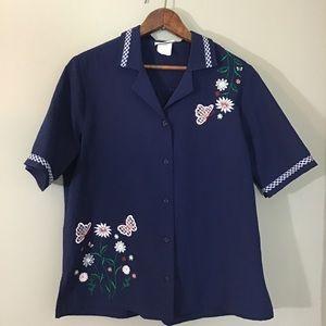 Vintage Short Sleeve Appliqué Button Down Top